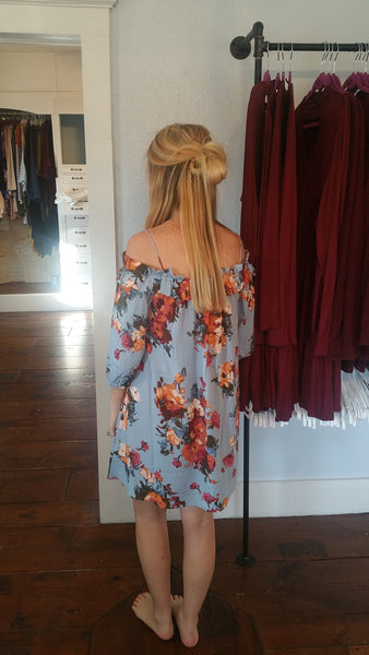 Blu pepper blue floral off the shoulder spring dress