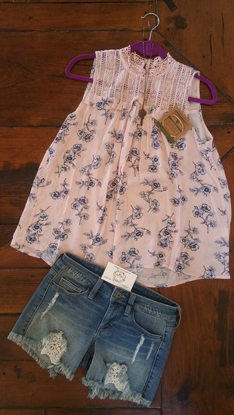 Blu Pepper Blush And Navy Floral Spring Shirt