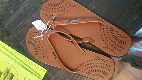 Brown leather flip flop spring
