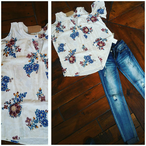 Blu pepper turquoise and cream cold shoulder floral spring shirt