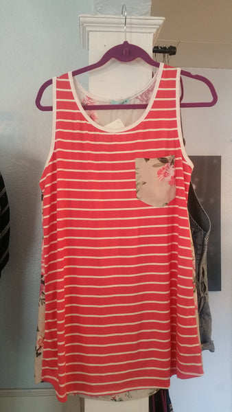 Coral stripe and floral spring tank