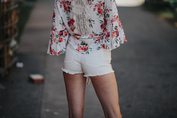 blu pepper ivory feather boho shorts spring line