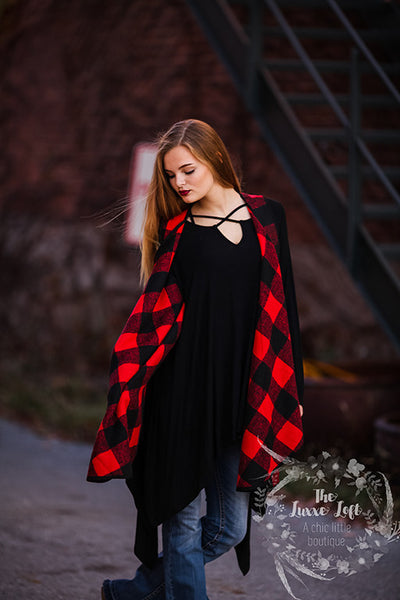 Buffalo plaid vest tunic length