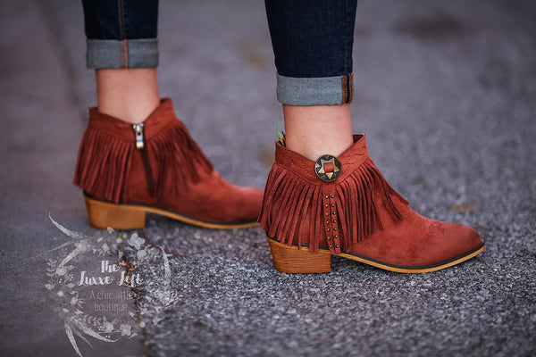 copper fringe booties