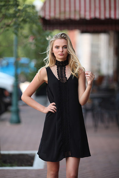 Black lace choker spring dress