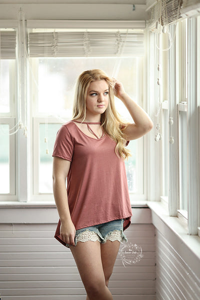 Blu Pepper Mauve spring Short Sleeve shirt also curvy