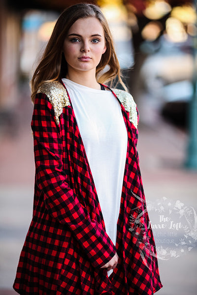 buffalo plaid and sequin cardigan