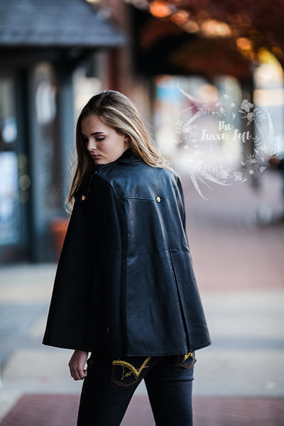 Dance & Marvel Black moto cape jacket
