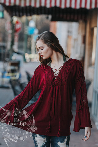 blu pepper Cranberry Lace Tie Blouse
