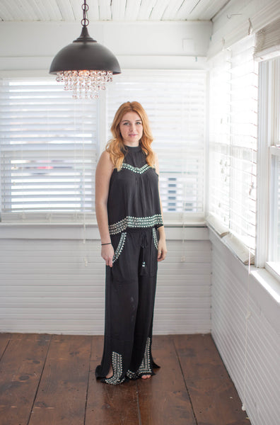 band of gypsies monochrome black pilazzo pants