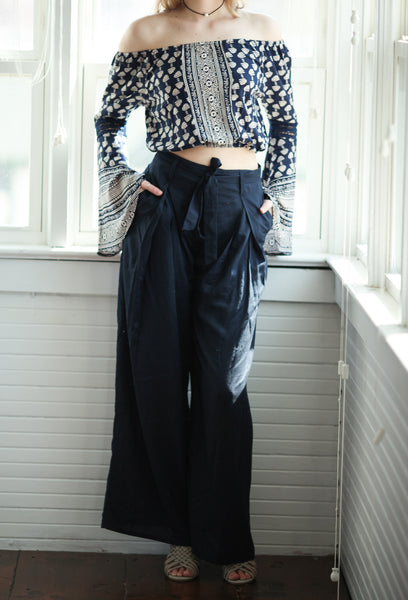 Band of gypsies Navy high waist wide leg pilazzo spring pant