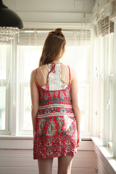 Band of gypsies red boho spring sundress