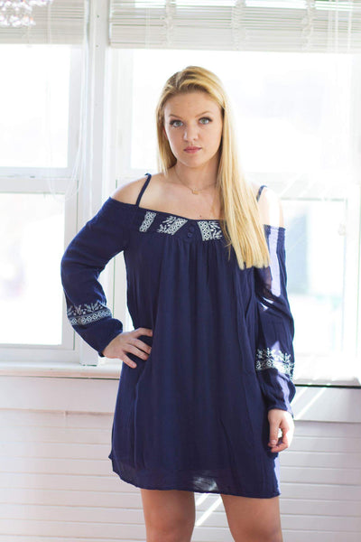 Band of gypsies navy cold shoulder embroidered spring dress