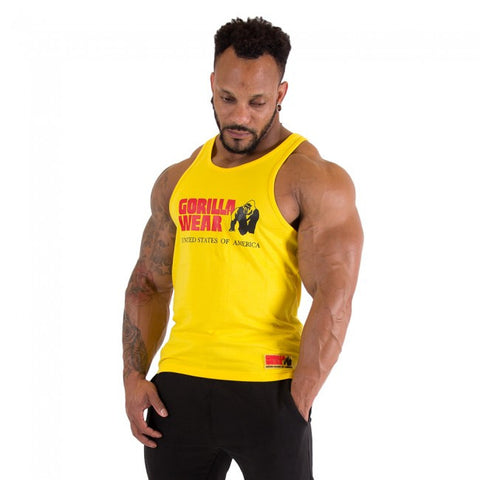 Classic Tank Tops -GW Logo - Yellow Material - Gorilla Wear South Africa