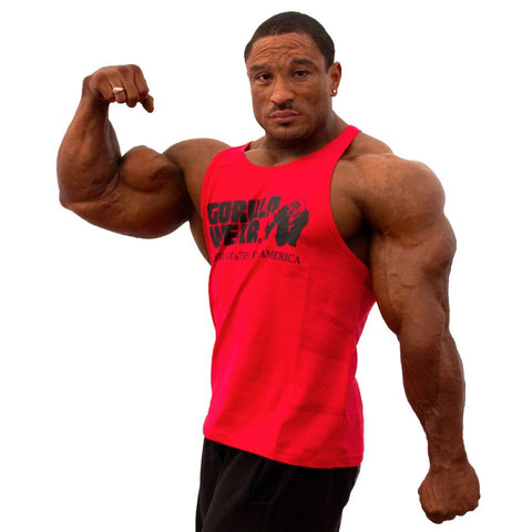 Classic Tank Tops - GW Logo - Red Material - Gorilla Wear South Africa - Roelly Winklaar