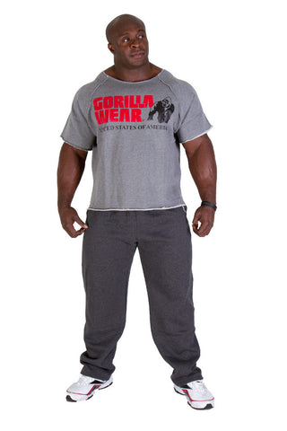 Classic Work Out Top - Grey Material - GW Logo - Gorilla Wear South Africa