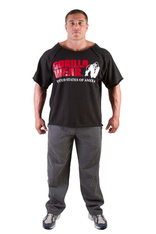 Classic Work Out Top - Black Material - GW Logo - Gorilla Wear South Africa