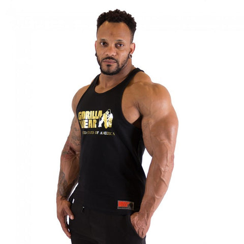Classic Tank Tops - Gold Printed Logo - Black Material - Gorilla Wear South Africa