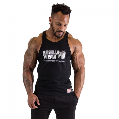Classic Tank Tops - Silver Printed Logo - Black Material - Gorilla Wear South Africa