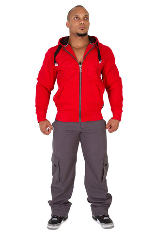 Logo Hooded Jacket - Tango Red - Gorilla Wear South Africa