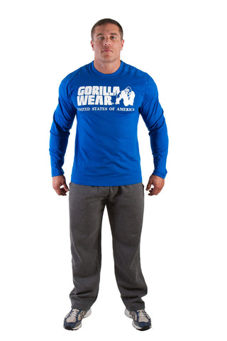 Rubber Printed Longsleeve - Blue - Gorilla Wear SA Gorilla Wear SA - Gorilla Wear South Africa