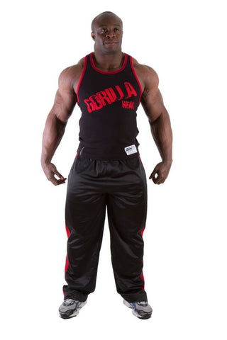Stamina Rib Tank Tops - Black and Red - Gorilla Wear South Africa