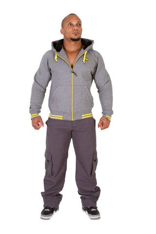 Premium Hooded Jacket - Grey Melange - Gorilla Wear South Africa