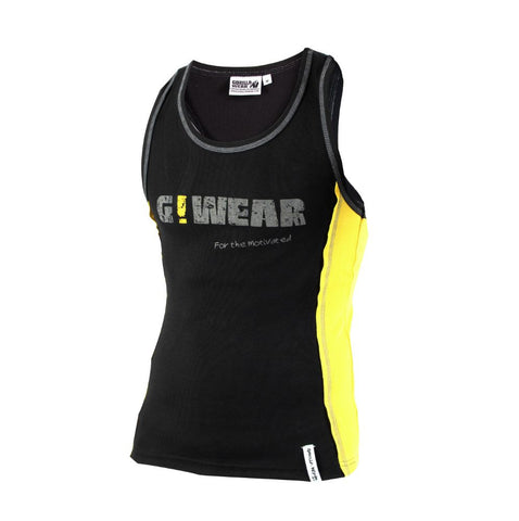 Rib Tank Tops - Logo G!Wear - Black and Yellow - Gorilla Wear South Africa