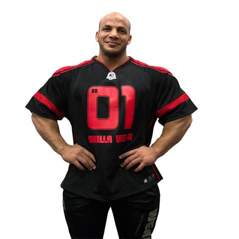 "GW Athlete ""Big Ramy"" T-Shirt - Black and Red - Gorilla Wear SA Gorilla Wear SA - Gorilla Wear South Africa"