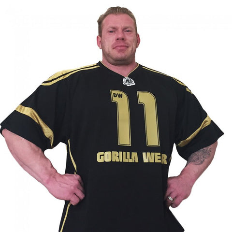 "GW Athlete ""Dennis Wolf"" T-Shirt - Black and Gold - Gorilla Wear SA Gorilla Wear SA - Gorilla Wear South Africa"