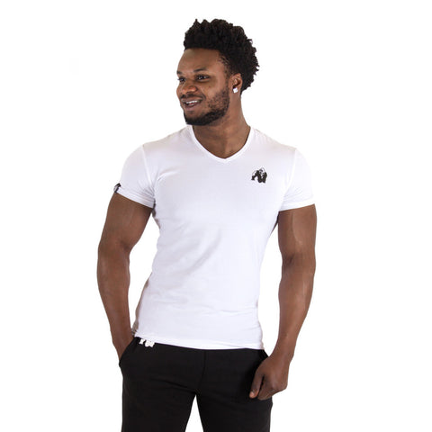 Essential V-Neck T-Shirt - White - Gorilla Wear SA Gorilla Wear SA - Gorilla Wear South Africa