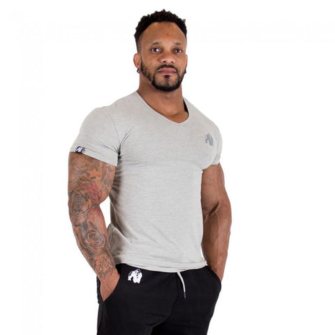 Essential V-Neck T-Shirt - Gray - Gorilla Wear South Africa
