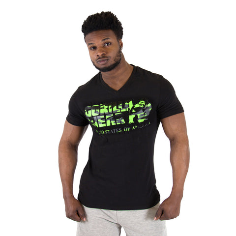 Sacramento V-Neck T-Shirt - Black and Lime Neon - Gorilla Wear South Africa