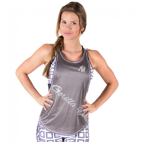 Florida Stringer Tank Top - Grey and White - Gorilla Wear SA Gorilla Wear SA - Gorilla Wear South Africa