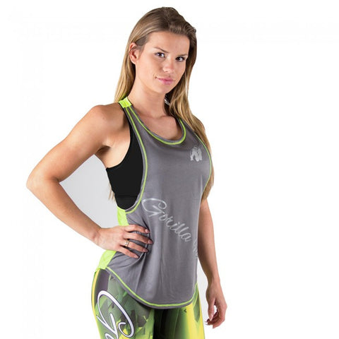 Florida Stringer Tank Top Grey and Neon Lime - Gorilla Wear SA Gorilla Wear SA - Gorilla Wear South Africa