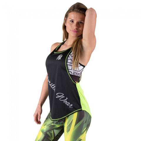 Florida Stringer Tank Top - Black and Neon Lime - Gorilla Wear SA Gorilla Wear SA - Gorilla Wear South Africa