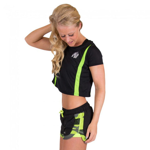 Columbia Crop Top - Black and Neon Lime - Gorilla Wear SA Gorilla Wear SA - Gorilla Wear South Africa