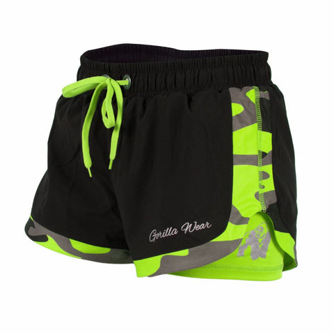 Denver Shorts - Black and Neon Lime Camo Pattern - Gorilla Wear South Africa
