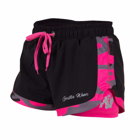 Denver Shorts - Black and Neon Pink Camo Pattern - Gorilla Wear South Africa
