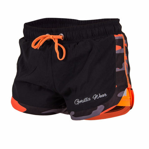 Denver Shorts - Black and Neon Orange Camo Pattern - Gorilla Wear South Africa