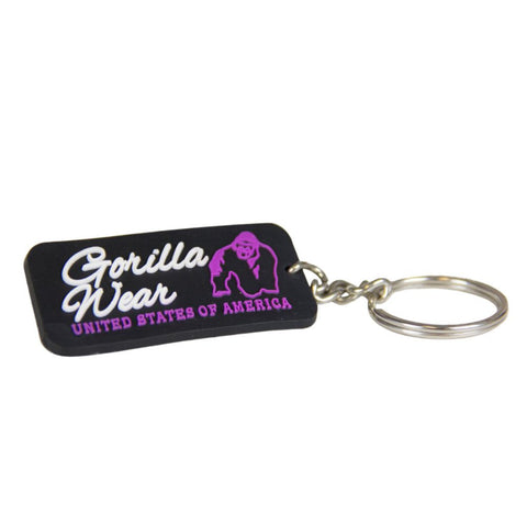Rubber Logo Keychain - Black and Purple - Gorilla Wear South Africa