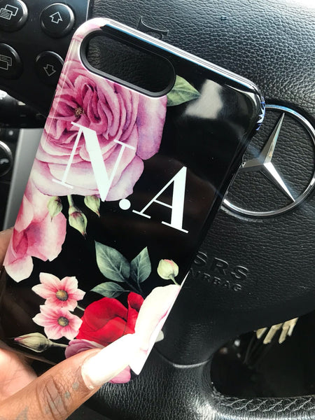 Personalised Black Floral Blossom Initials iPhone XS Case