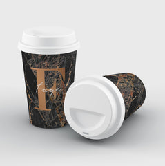 Personalised Slate Marble Bronze Initial Reusable Coffee Cup