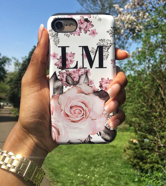 Personalised Pink Floral Rose Initials iPhone XR Case