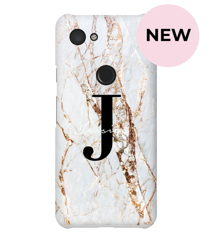 Personalised Cracked Marble Name Initials Google Pixel 3a Case
