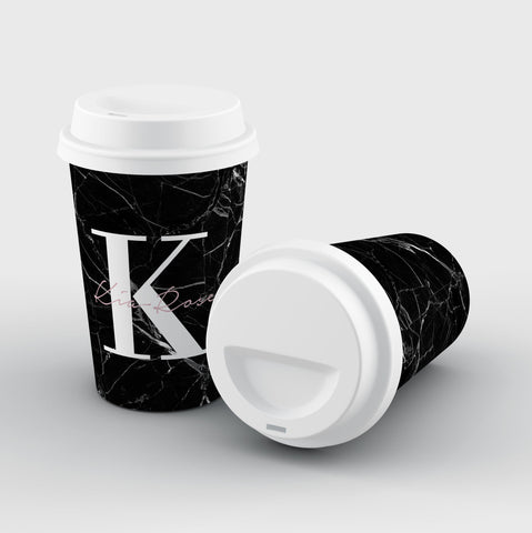 Personalised Black Marble Name Initials Reusable Coffee Cup