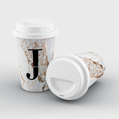 Personalised Cracked Marble Name Initial Reusable Coffee Cup