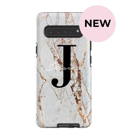 Personalised Cracked Marble Name Initials Samsung Galaxy S10 5G Case