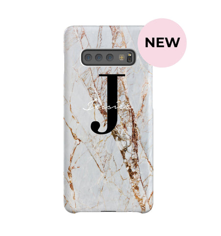 Personalised Cracked Marble Name Initials Samsung Galaxy S10 Plus Case
