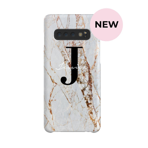 Personalised Cracked Marble Name Initials Samsung Galaxy S10 Case
